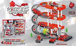 Гараж паркінг для пожежних машинок Ігровий набір 4 поверху, 3 машинки звук, світло