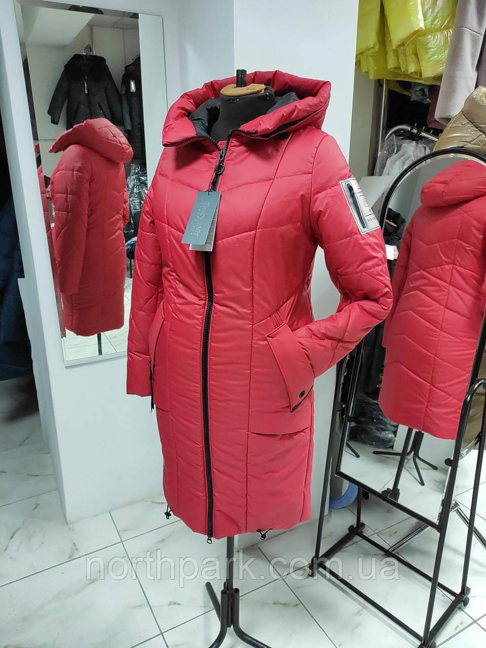 """Зимова Подовжена куртка """"Дельта"""", пляшковий колір"""