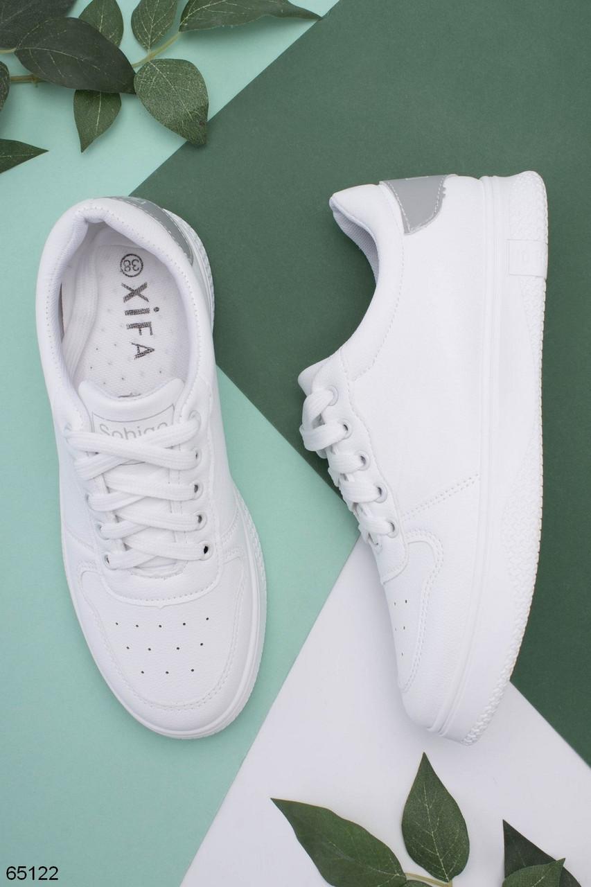 Стильные женские кроссовки / кеды белые с серым эко-кожа с перфорацией