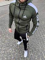ПРАЗДНИЧНЫЕ СКИДКИ. Спортивный мужской костюм Adidas (штаны+олимпийка) цвета хаки. 95% хлопок. Сезон Весна-Осень L