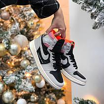 Жіночі кросівки Air Jordan 1 Retro High Neutral Grey Hyper Crimson 555088-018, фото 2