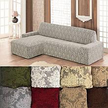 Натяжные чехлы накидка еврочехол на угловой диван Разные цвета жаккардовый Серый без оборки турецкие