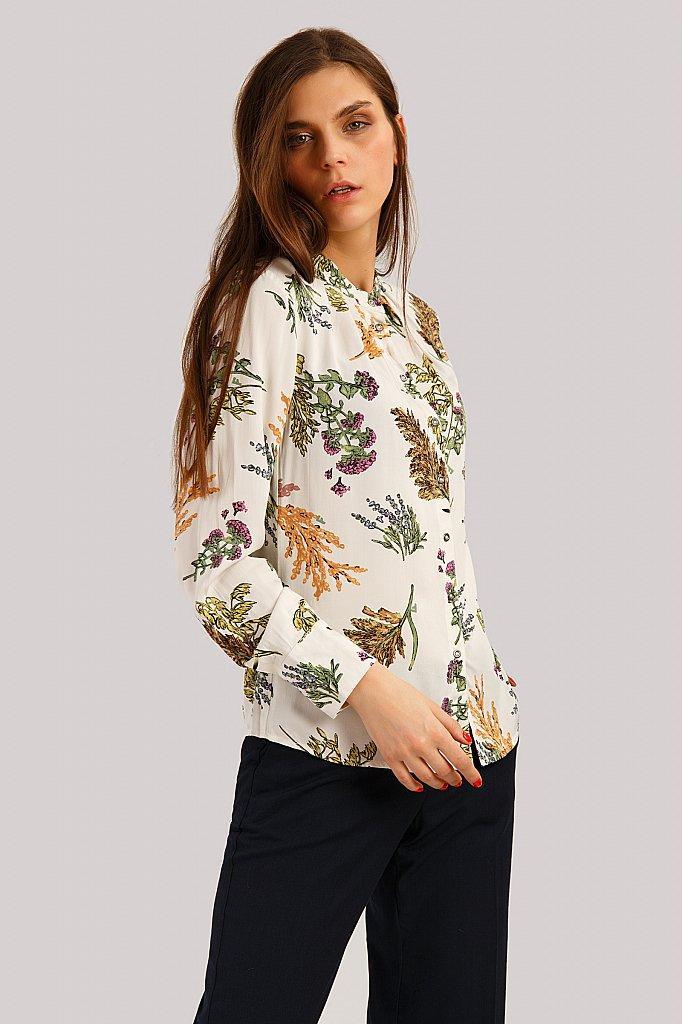 Белая летняя блузка Finn Flare B19-12043-201 на пуговицах