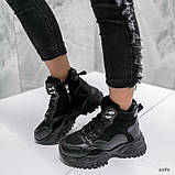 Чорні зимові черевики, кросівки на хутрі, фото 7