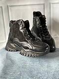 Чорні зимові черевики, кросівки на хутрі, фото 3