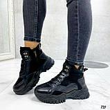 Чорні зимові черевики, кросівки на хутрі, фото 6