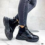 Чорні зимові черевики, кросівки на хутрі, фото 5