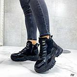 Чорні зимові черевики, кросівки на хутрі, фото 4