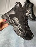Чорні зимові черевики, кросівки на хутрі, фото 2