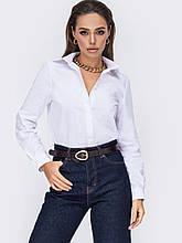 Рубашка прямого кроя с длинным рукавом и  супатной застёжкой на пуговицы