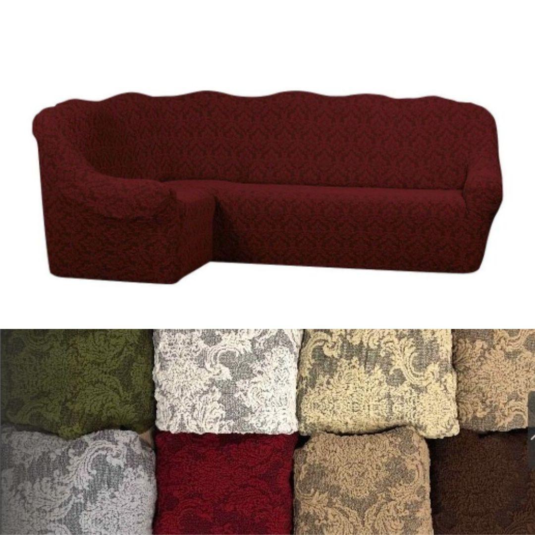 Еврочехол на угловой диван, натяжные чехлы на угловой диван турецкий Все цвета жаккардовый Бордовый без оборки