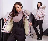 """Женский горнолыжный костюм комбинезон + куртка в больших размерах 5054 """"Принт Мех Комби"""""""