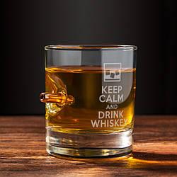 """Стакан з кулею """"Keep calm and drink whiskey""""   Подарунковий стакан для віскі з кулею 7.62"""