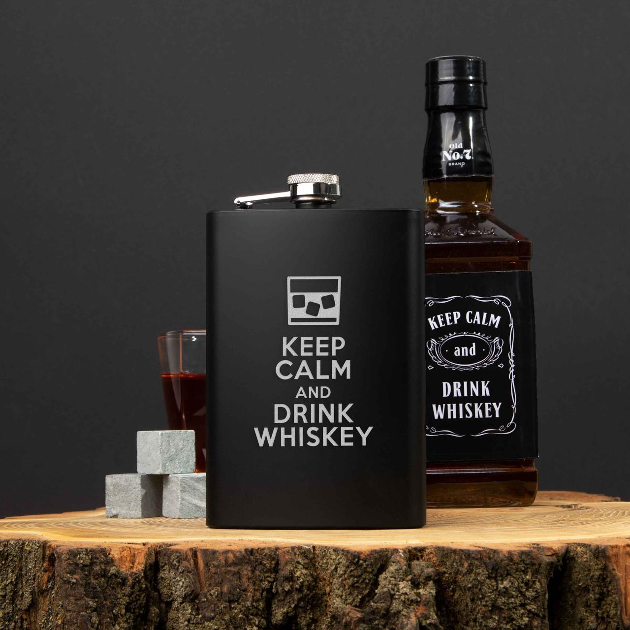 "Фляга с гравировкой ""Keep calm and drink whiskey""  фляга подарочная с надписью   фляга подарочная с надписью"