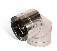Коліно із нержавіючої сталі Versia-Lux ф 300 360 мм кут 90 гр 0.6 мм з термоізоляцією в нержаві, КОД: