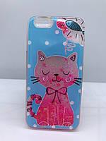 Силиконовый прозрачный чехол Water case для iPhone 6 6s Кот 11520, КОД: 1869161