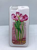 Силиконовый прозрачный чехол Water case для iPhone 6 6s Банка с цветами 11518, КОД: 1894986