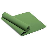 Коврик для йоги и фитнеса Yogamat TPE+TC 6мм SP-Planeta FI-4937, Зелёный Оливковый