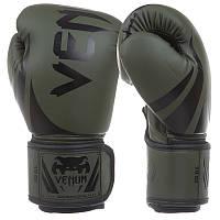 Перчатки для бокса на липучке VENUM PU Challenger 2.0 оливково-черные BO-8352, 8 унций