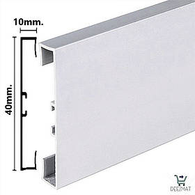 Плінтус алюмінієвий підлоговий 40х10х2000мм Profilpas 89/4. Прямокутний плінтус з алюмінію
