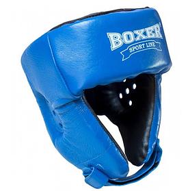 Шолом боксерський кожвініл Boxer Sport Line M Синій (hub_se2hrt)