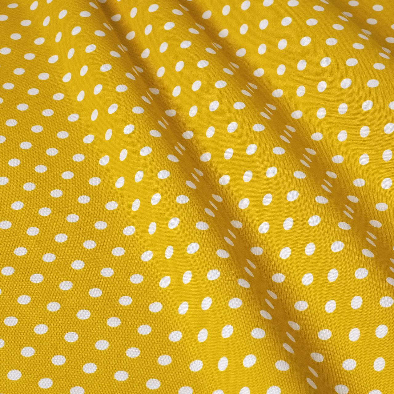 Декоративная ткань горох на желтом фоне Турция 81481v5