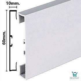 Підлоговий плінтус з алюмінію 60х10х2000мм Profilpas 89/6. Дизайнерський прямокутний плінтус алюмінієвий