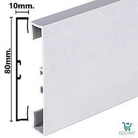 Алюминиевый плинтус напольный 80х10х2000мм Profilpas 89/8. Высокий прямоугольный плинтус из алюминия