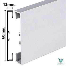 Анодований алюмінієвий плінтус 60мм. Metal Line 89/613 - PROFILPAS, підлоговий сріблясто-матовий