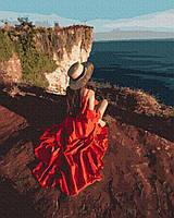 Картина по номерам. Девушка в красном платье у моря, 40*50 см, Brushme, без коробки