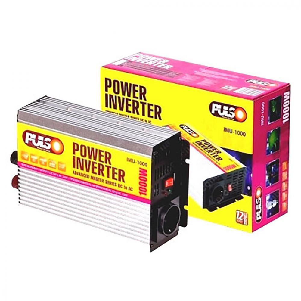 Перетворювач напруги 12V-220V/1000W/ USB-5VDC0.5A/сін.хвиля/клеми/ PULSO ISU-100