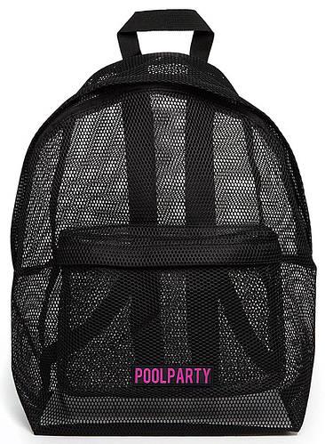 Молодежный рюкзак в сетку POOLPARTY backpack-mesh-black черный
