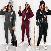 Костюм женский спортивный, модный, кофта с капюшоном, с оригинальными лампасами, повседневный, до 60 р-ра
