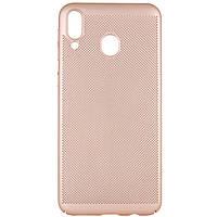 Ультратонкий дышащий чехол Grid case для Samsung Galaxy M20 Золотой
