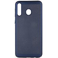 Ультратонкий дышащий чехол Grid case для Samsung Galaxy M30 Темно-синий