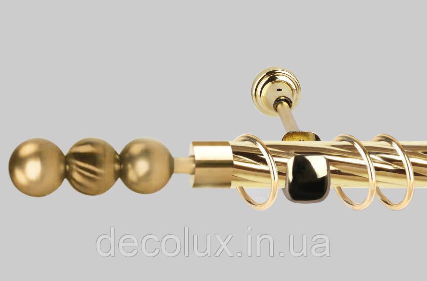 Карниз для штор однорядний металевий 16 мм (комплект) ЕМ151 Золото