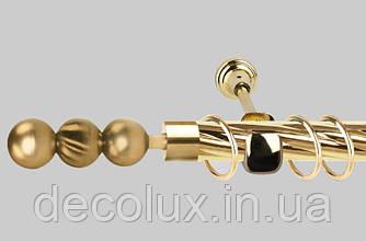 Карниз для штор однорядный металлический 16 мм (комплект) ЕМ151 Золото