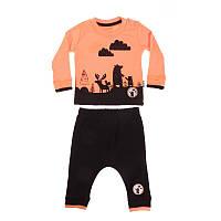 """Футболка с длинным рукавом + Брюки для мальчика. Размер: 62. неон-оранжевый. TM """"MINIWORLD"""" 15405. Турция."""
