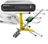 Комплект Т2 ресивер Simax Green + антенна ES-003A с усилителем + кабель 15 м, фото 1