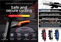 MEILAN X5 Умный Велосипедный Фонарь + USB пульт, Лазерная дорожка, Автостоп (85LM, 2200mAh, LED*29, USB, IPX4)