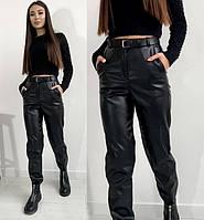 женские брюки из эко кожи на флисе до 52 размера