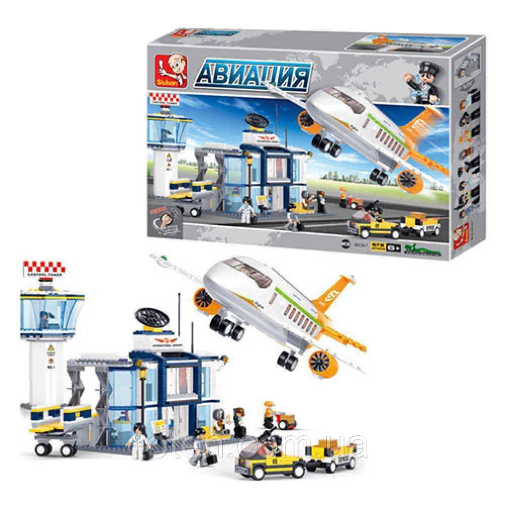 Конструктор SLUBAN M38-B0367 Авіація, літак, аеропорт, 678 деталей, фігурки Т
