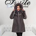 Меховое Пальто Укороченное Из Шерсти Мериноса  Цвет Аметист 012ГШ, фото 5