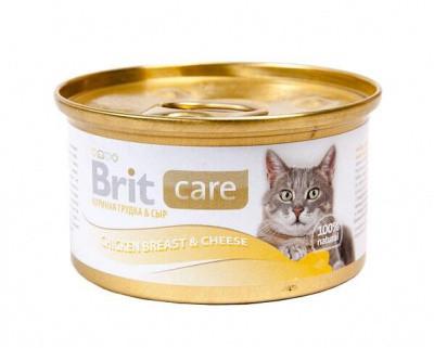 Консервы Brit Care (Брит Кеа) для кошек с куриным филе и сыром 80 гр