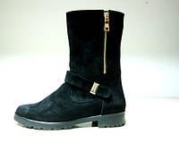 Ботинки  Б-150 черные из натурального замша