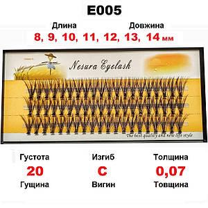 ОПТ от 300 ед. Nesura Eyelash 20D, 8-14 мм, изгиб C, 0,07, 60 пучков Несура пучковые Бесплатная доставка