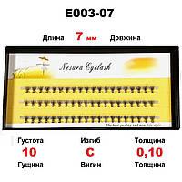 Ресницы Nesura Eyelash 10D, 7 мм, изгиб C, 0,10, 60 пучков Несура ресницы пучками