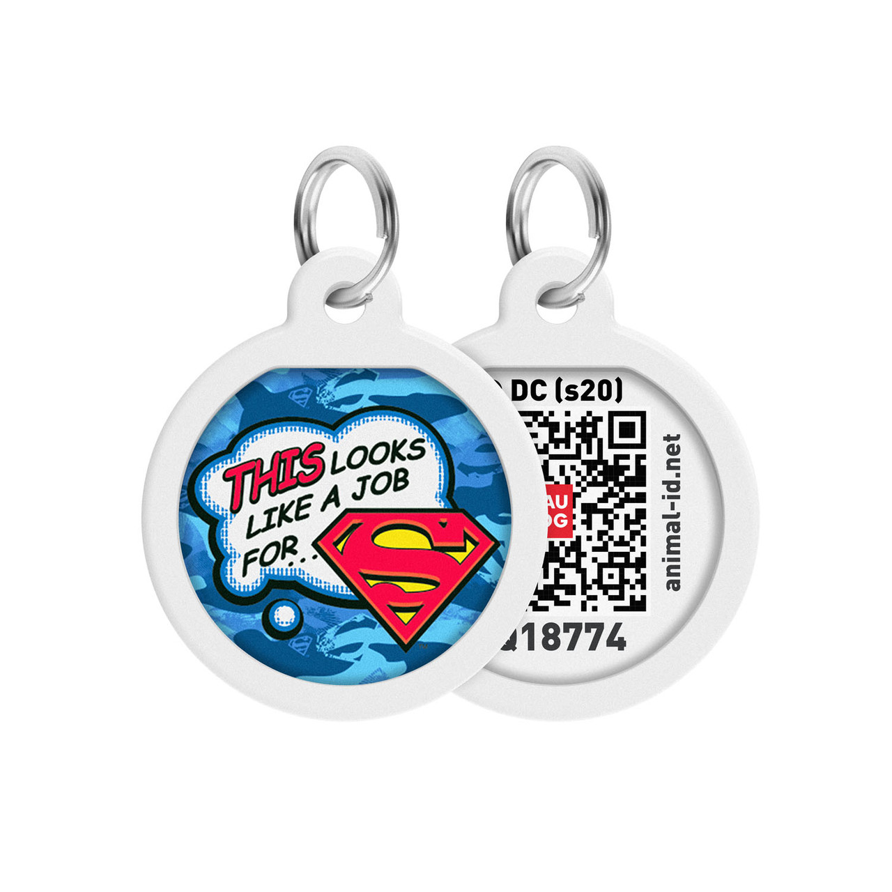 """Адресник WAUDOG Smart ID с QR паспортом, премиум, рисунок """"Работа для Супермена"""" (0625-1016)"""