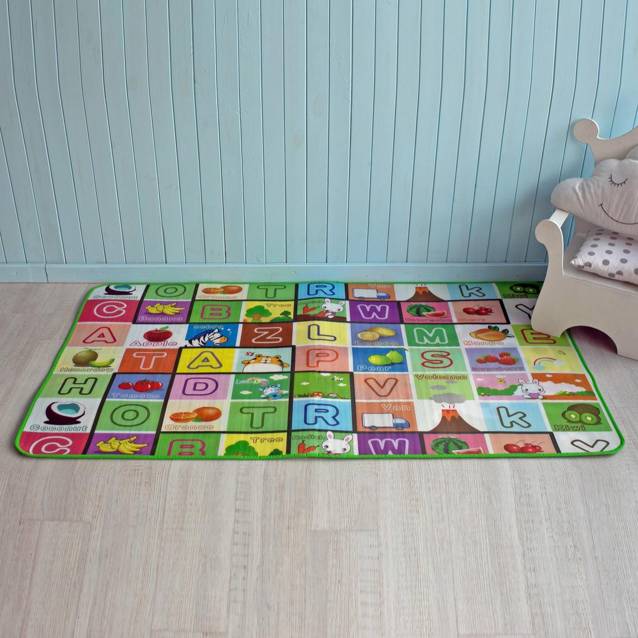 """Дитячий килимок термо розвиваючий """"Алфавіт + Сад""""  підходить для дітей з народження до 7 років"""