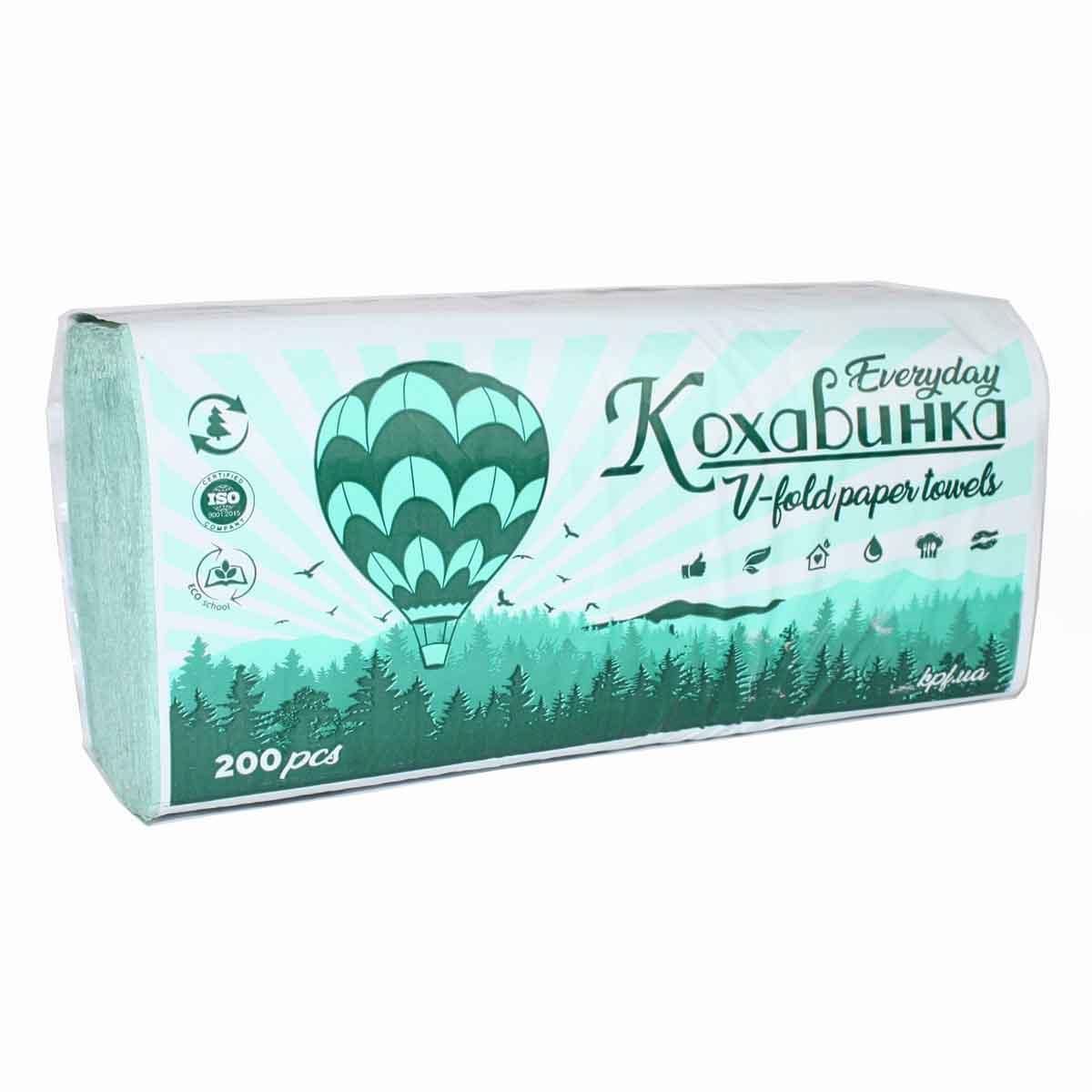 Бумажные полотенца V типа 23х25см (200шт) зеленый